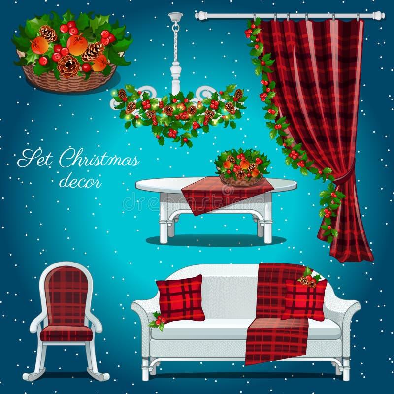 Interior clásico del pasillo con la decoración de la Navidad stock de ilustración
