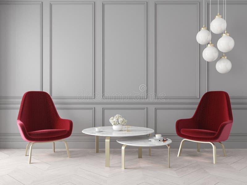 Interior clásico moderno con las butacas, la lámpara, la tabla, los paneles de pared y el piso de madera stock de ilustración
