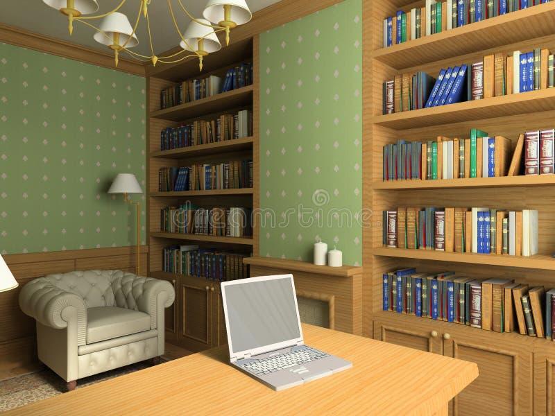 Interior clássico. 3D rendem ilustração stock