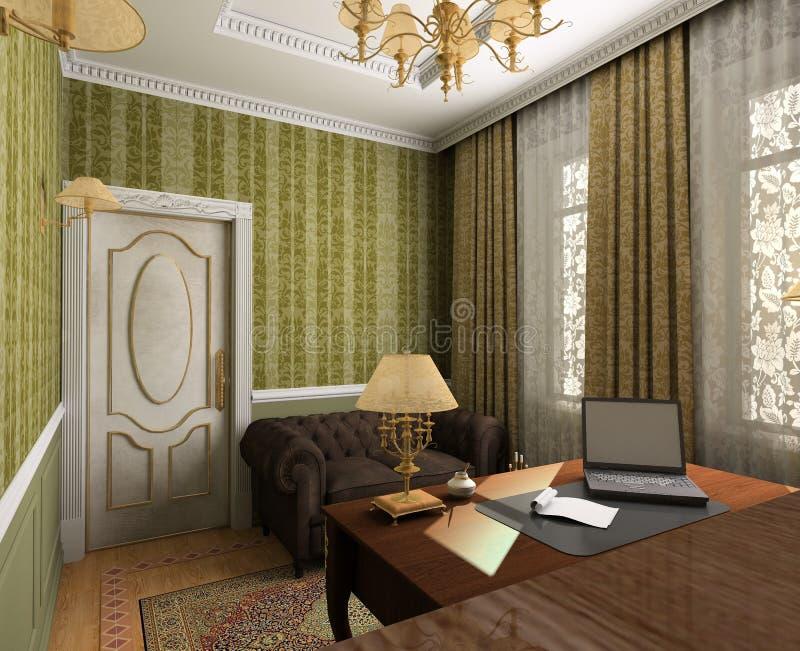 Interior clássico. 3D rendem ilustração do vetor