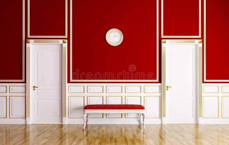 Interior clássico com sofá e portas ilustração stock