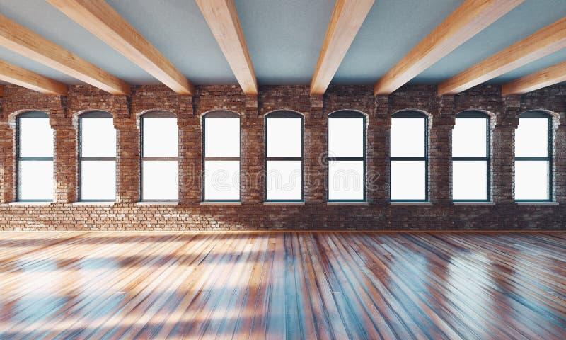 Interior clássico da parede e quadro moderno com parquet, sala vazia, rendição 3d ilustração do vetor