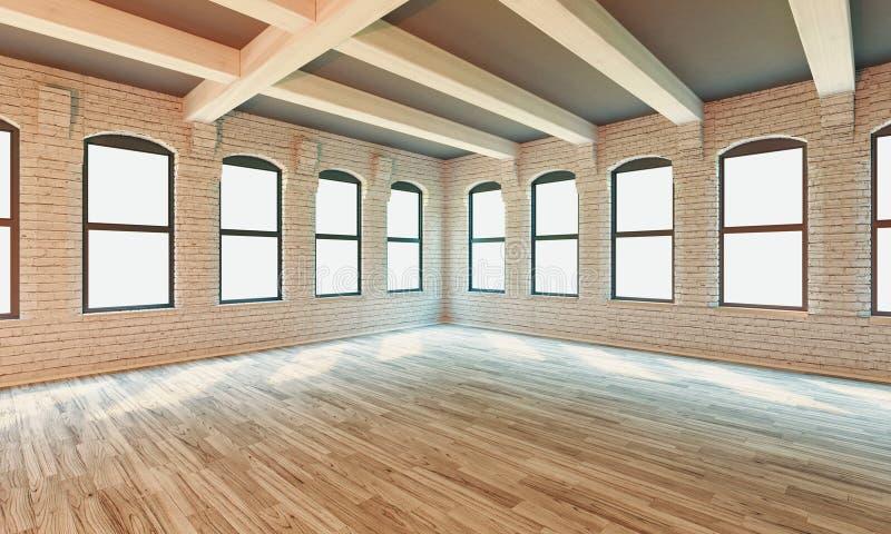 Interior clássico da parede e quadro moderno com parquet, sala vazia, rendição 3d ilustração stock
