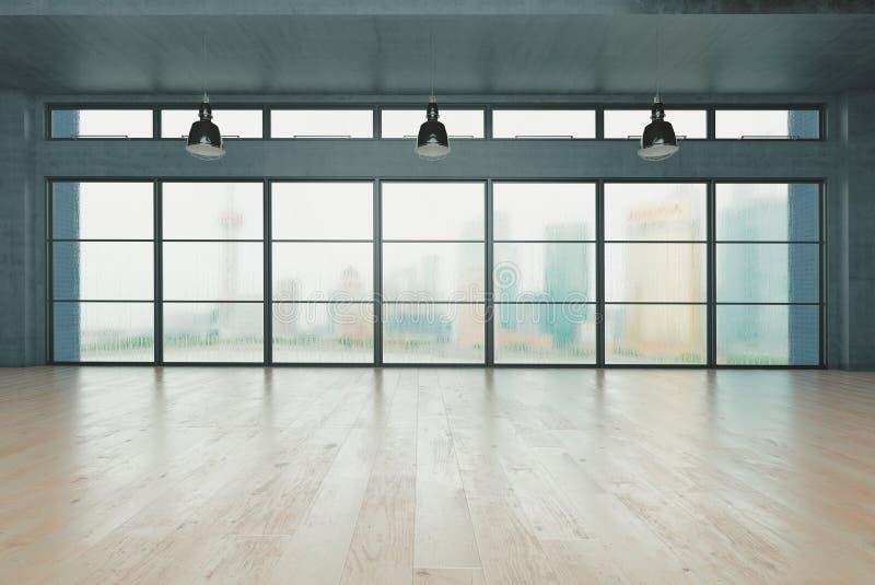 Interior clássico da parede e quadro moderno com parquet, sala vazia, rendição 3d ilustração royalty free