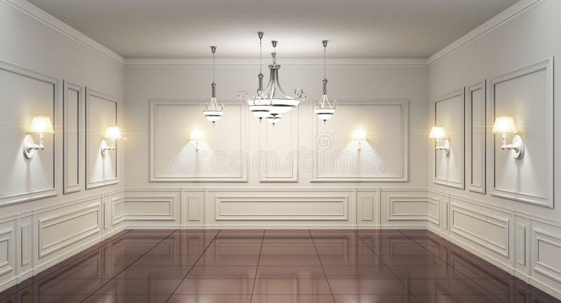 Interior clássico da parede da sala escandinava luxuosa do estilo rendi??o 3d ilustração royalty free