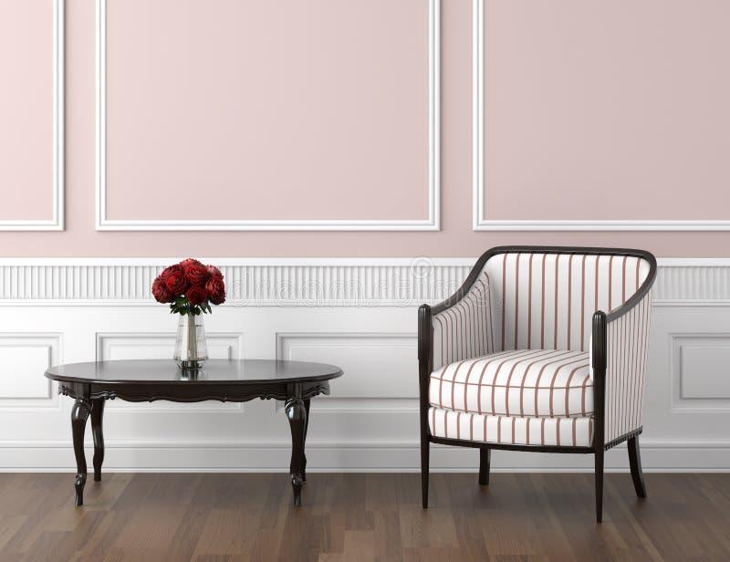 Interior clássico do cor-de-rosa e o branco ilustração do vetor