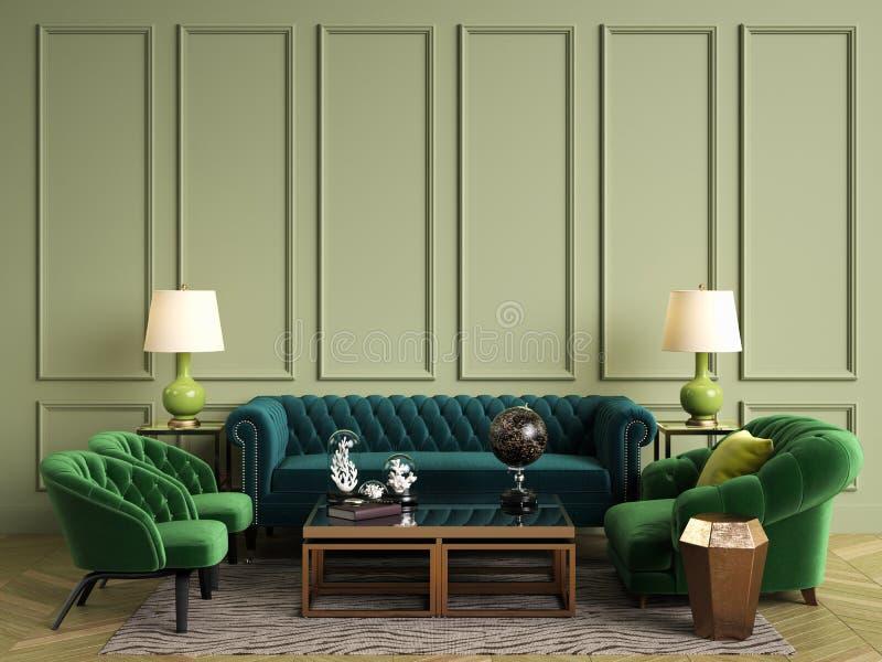 Interior clássico em cores verdes Sofá, cadeiras, sidetables com lâmpadas, tabela com decoração Paredes verde-oliva com moldes ilustração stock