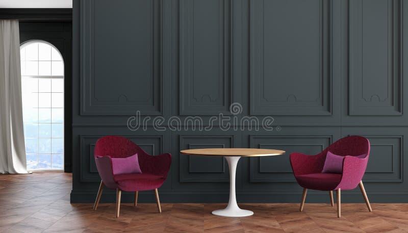 Interior clássico moderno com paredes pretas, vermelho da sala vazia, poltronas de Borgonha, tabela, cortina ilustração do vetor