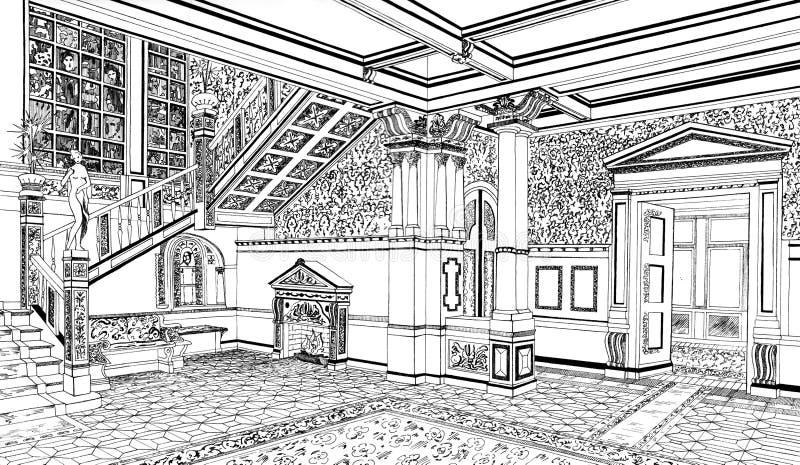 Interior clássico no palácio, mão tirada ilustração do vetor