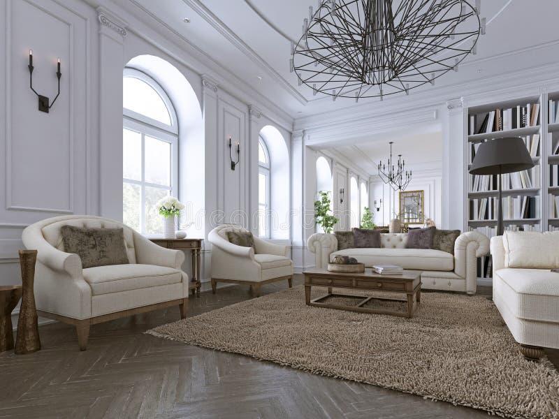Interior clássico Sofá, cadeiras, sidetables com lâmpadas, tabela com decoração Paredes brancas com moldes Desenhos em espinha do ilustração stock