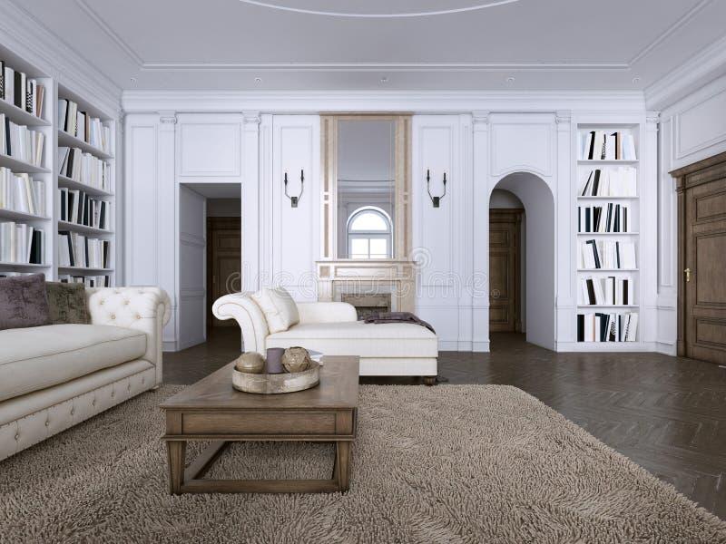 Interior clássico Sofá, cadeiras, sidetables com lâmpadas, tabela com decoração Paredes brancas com moldes Desenhos em espinha do ilustração do vetor