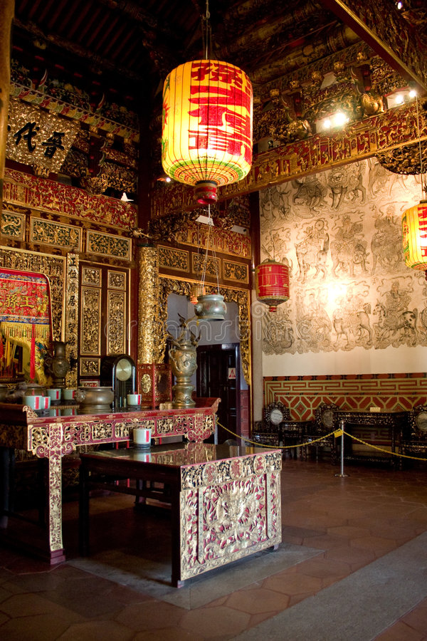 Interior Of Clan Temple In Penang Royalty Free Stock Photos