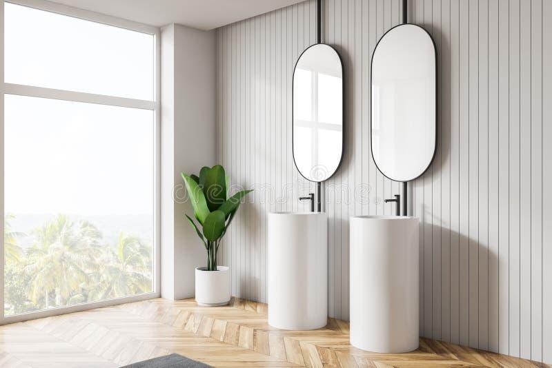 Interior claro moderno do banheiro Espelhos do projeto ilustração do vetor