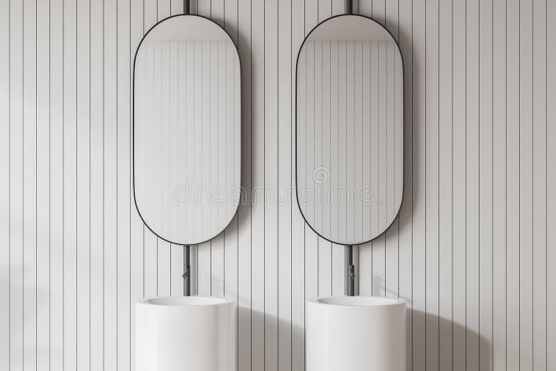Interior claro moderno do banheiro Espelhos do projeto ilustração stock