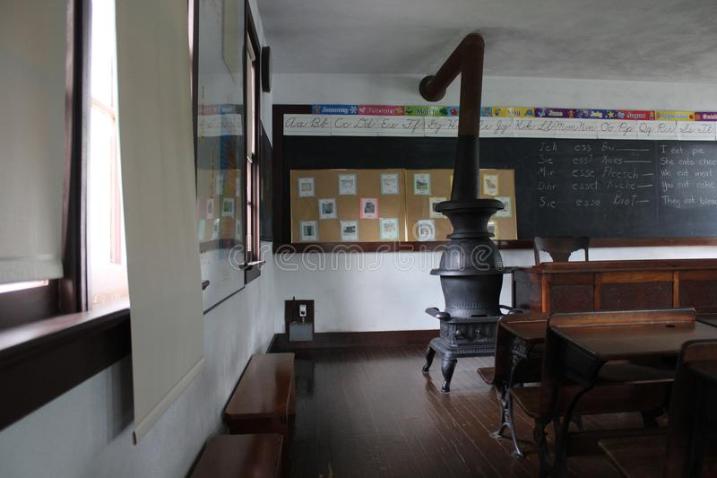 Interior of Class Room of Amish School. This Amish village is located in Lancaster County, Pennsylvania. Amish villages display the history, culture and royalty free stock images