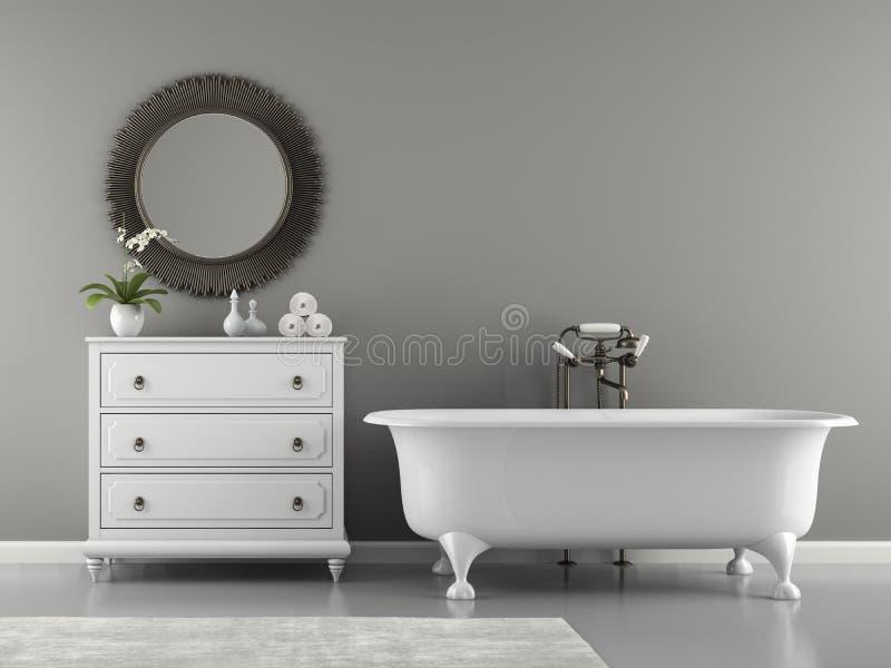 Interior of classic bathroom with stylish bath 3D rendering vector illustration