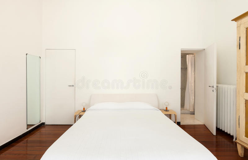 Interior, classic bedroom. Interior, double bed of hotel room stock photos