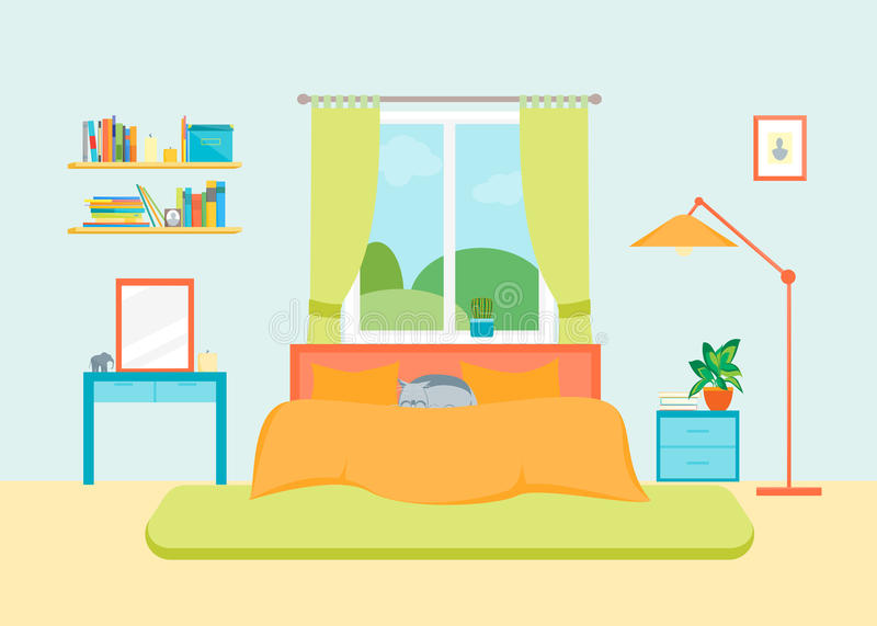 Interior Classic Bedroom with Furniture and Window. Vector stock illustration