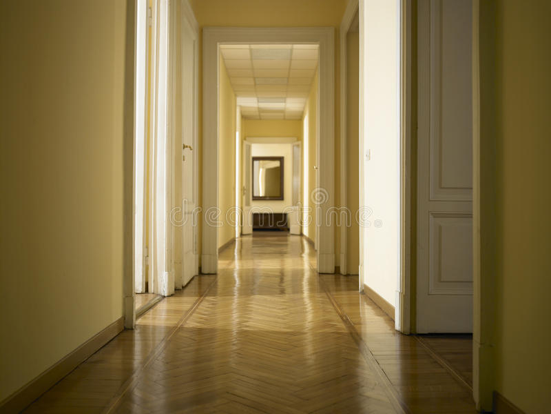 Interior Classic Long Corridor, Nobody Inside Royalty Free Stock Image