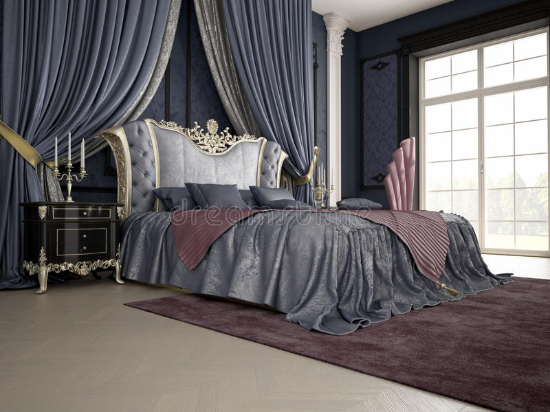 Interior of a classic style bedroom in luxury stock photos