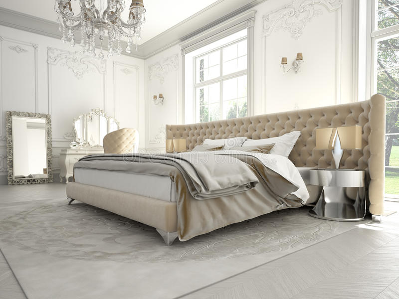 Interior of a classic style bedroom in luxury royalty free stock images