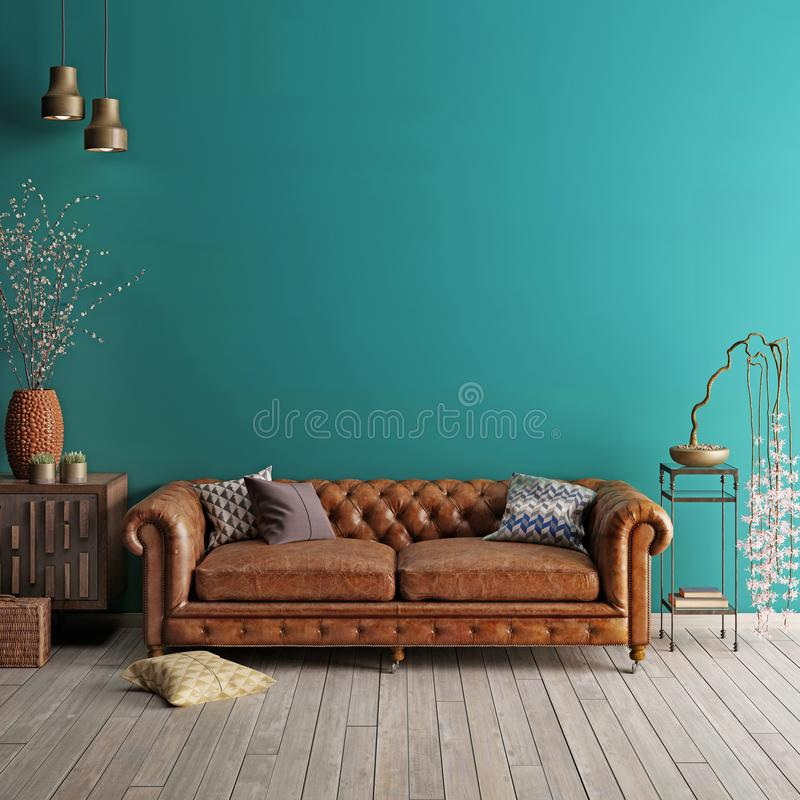 Interior in classic style with soft sofa and lamps with decor. Wall for mock up. 3d render vector illustration