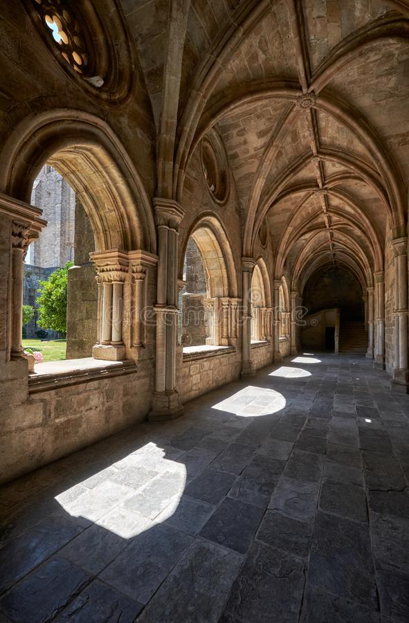 The interior of cloister of Cathedral Se of Evora. Portugal royalty free stock photo