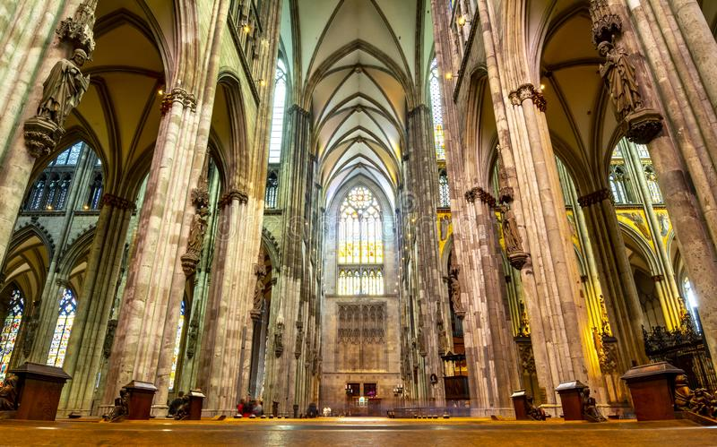 Interior of Cologne Cathedral, Germany royalty free stock photography