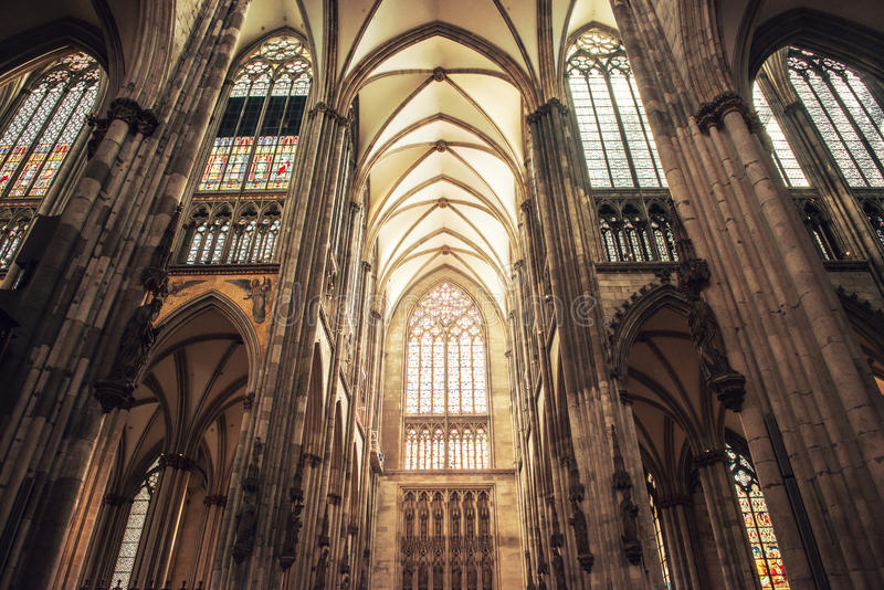 Interior of Cologne Cathedral royalty free stock images