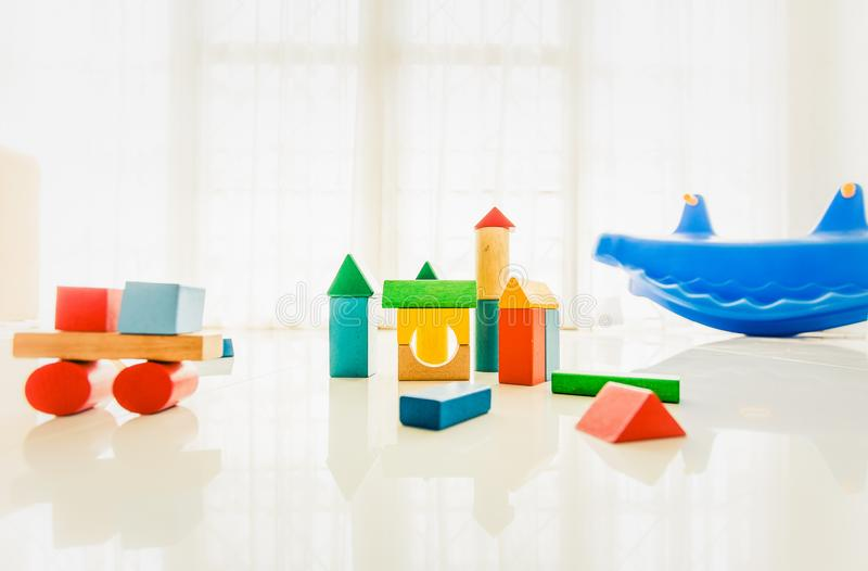 Interior of colorful playing room for kids stock images