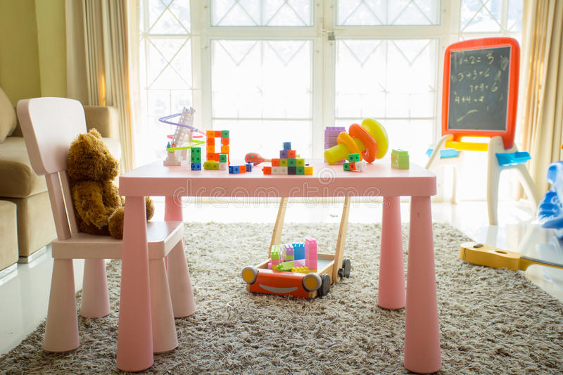 Interior of colorful playing room for kids . royalty free stock photo