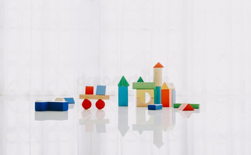 Interior of colorful playing room for kids stock photos