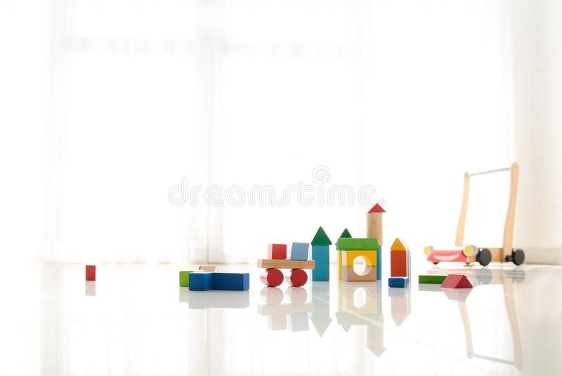 Interior of colorful playing room for kids royalty free stock images