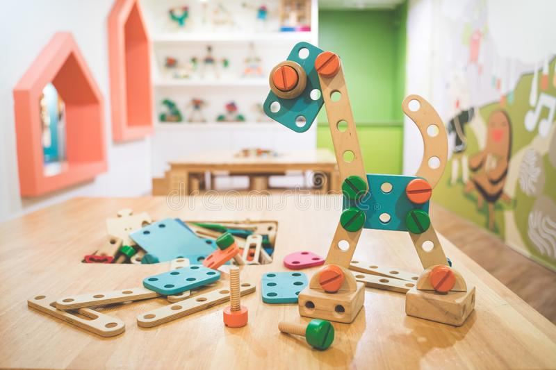 Interior of colorful playing room for kids royalty free stock photo
