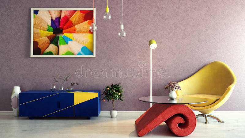 Interior colorido libre illustration
