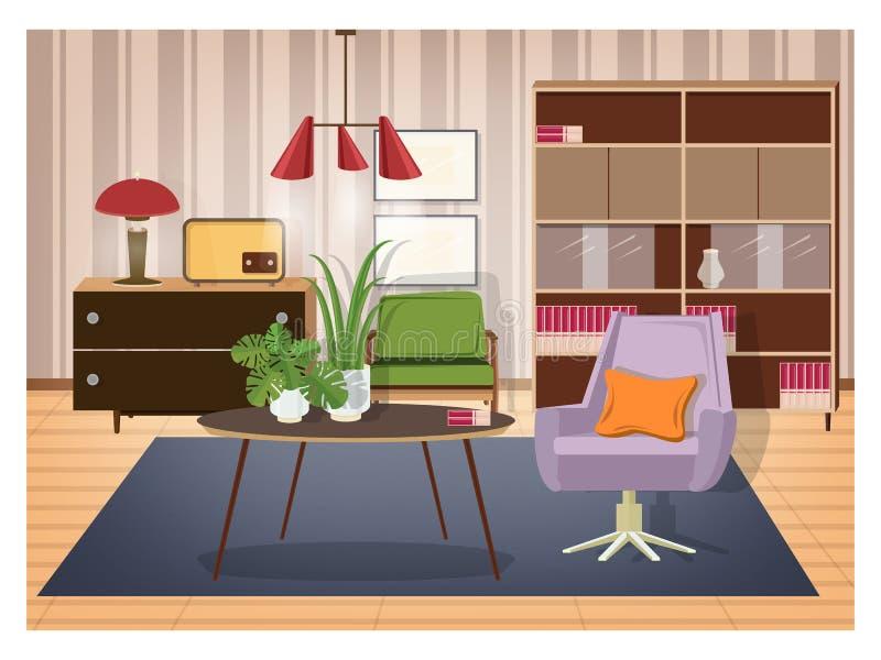 Interior colorido da sala de visitas fornecido no estilo antiquado Mobiliário retro e decoração - poltrona do giro, café ilustração stock