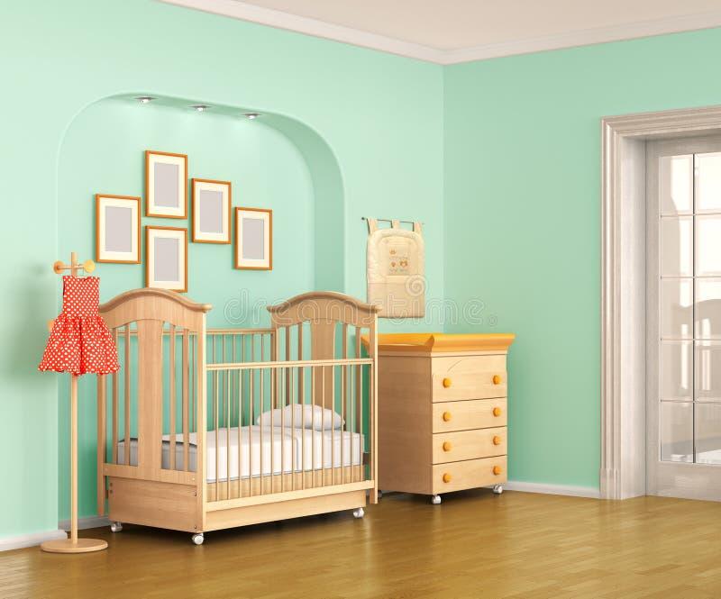 Interior colorido del cuarto de niños stock de ilustración