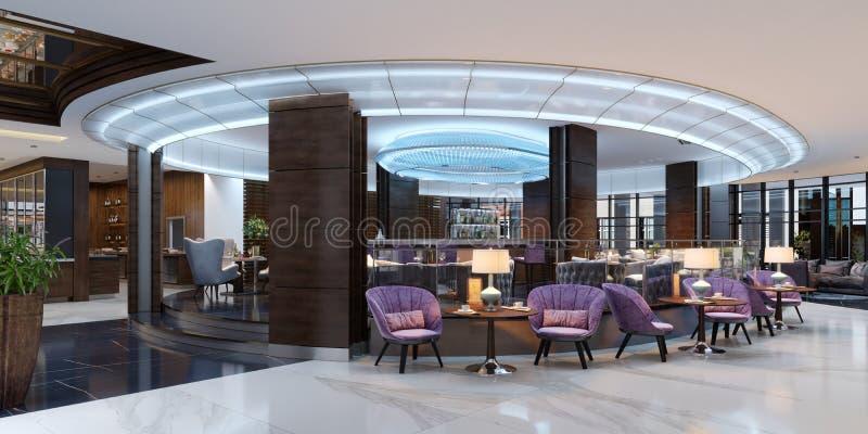 Interior colorido do café e do restaurante com um assoalho de mármore, de madeira redondas e umas cadeiras violetas de estofament ilustração stock