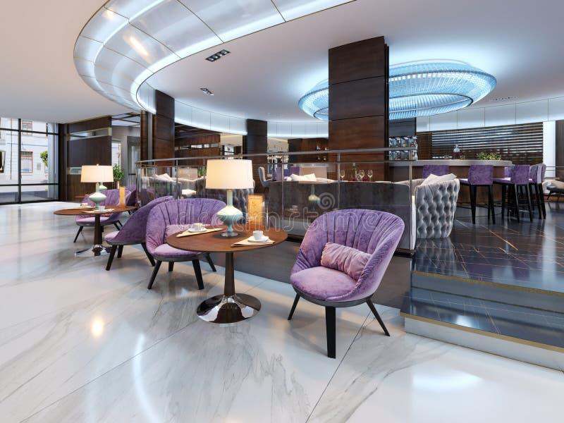Interior colorido do café e do restaurante com um assoalho de mármore, de madeira redondas e umas cadeiras violetas de estofament ilustração royalty free