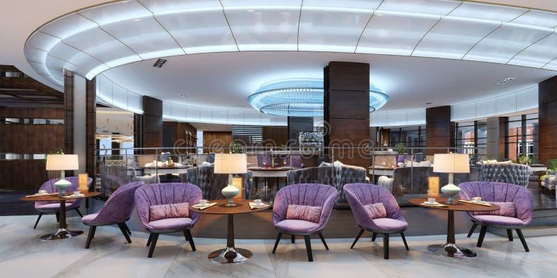 Interior colorido do café e do restaurante com um assoalho de mármore, de madeira redondas e umas cadeiras violetas de estofament ilustração do vetor