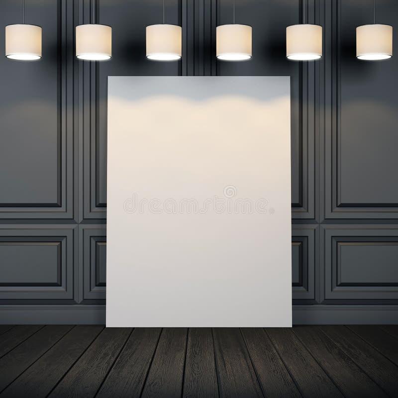 Interior com cartaz e as lâmpadas brancos imagem de stock royalty free