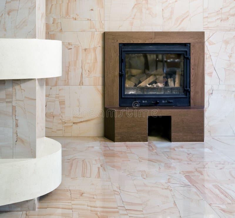 Interior com chaminé imagens de stock