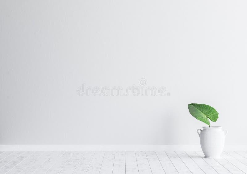 Interior com a folha da planta no vaso, zombaria branca da sala de visitas da parede de tijolo acima do fundo, estilo escandinavo ilustração stock