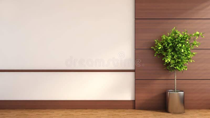 Interior com guarnição de madeira e a planta verde ilustração 3D ilustração do vetor