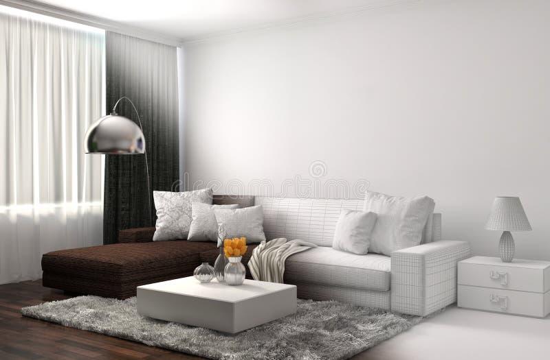 Interior com malha do sofá e do wireframe do CAD ilustração 3D ilustração royalty free