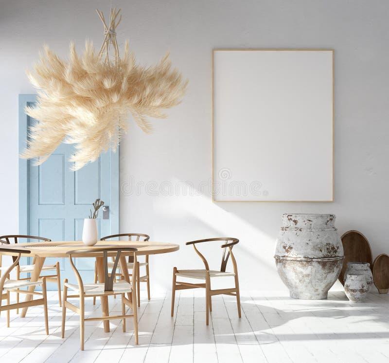 Interior com modelo do cartaz, estilo boêmio escandinavo da casa ilustração do vetor