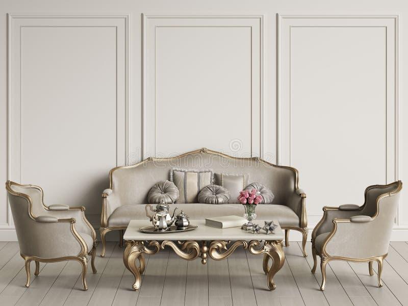 Interior com o modelo clássico da mobília ilustração stock