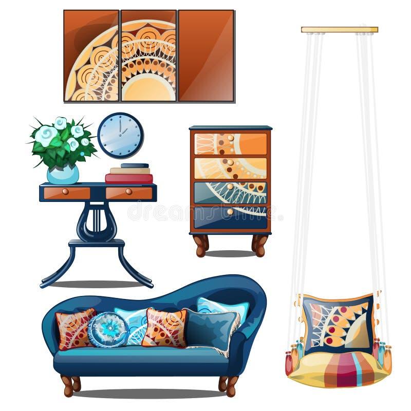 Interior com os ornamento coloridos isolados em um fundo branco Ilustração do vetor ilustração stock