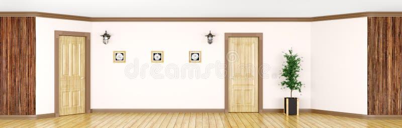 Interior com rendição de madeira clássica do panorama 3d das portas ilustração do vetor