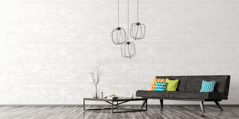 Interior com rendição do sofá e da mesa de centro 3d ilustração do vetor